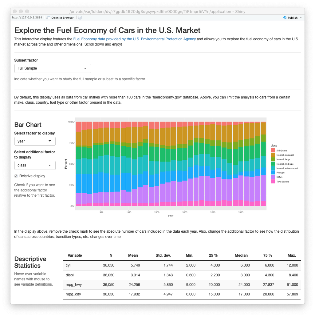 ExPanD with fuel economy data, customized look